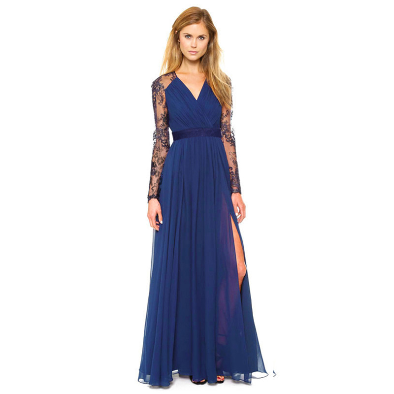Sexy Women Chiffon Evening Party Dresses Long Sleeve Prom ...