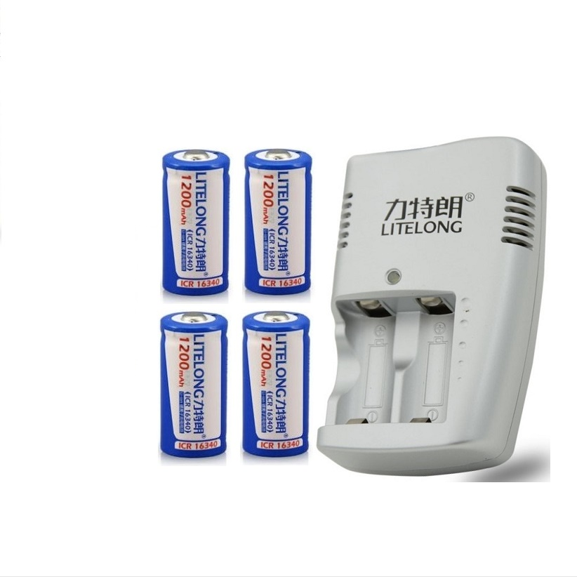4 PCS ICR16340 CR123A CR123 CR 123 123A CR17345 17345 1200 mah 3.7 V Batteria Al Litio+1PCS charger