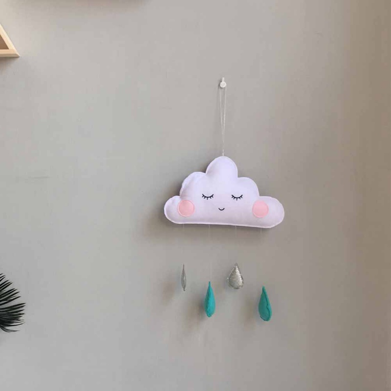 Home Decor Baby Childrens Room Kindergarten Home Cloud Cute Expression Pendant Cloud Rain Drops Mural Wall Decoration Stickers Gift White Hot Sale 50-70% OFF