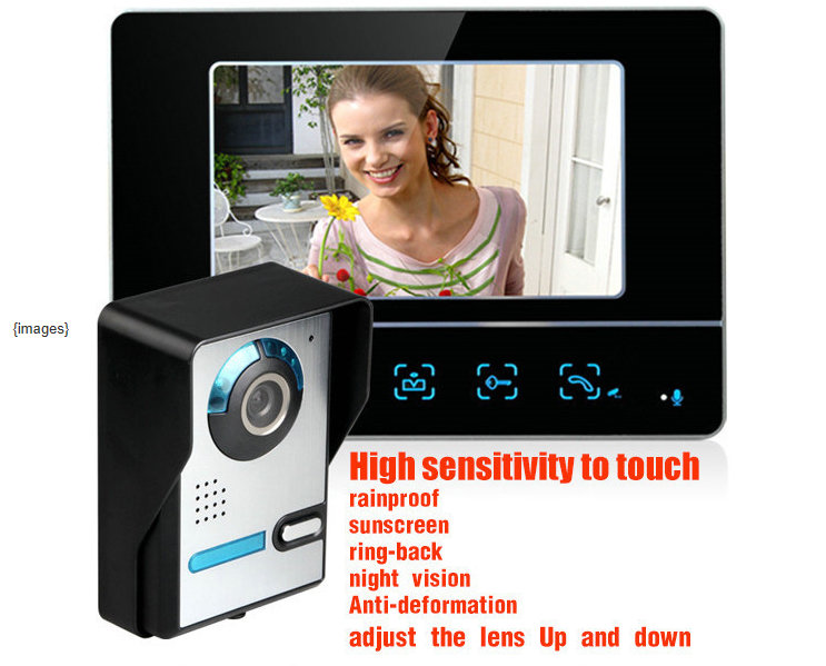 Hot sale Rainproof 7 Inch HD LCD TFT Screen Night vision Colorul Video Intercom Doorbell Doorphone monitor 7 inch video doorbell tft lcd hd screen wired video doorphone for villa one monitor with one metal outdoor unit rfid card panel