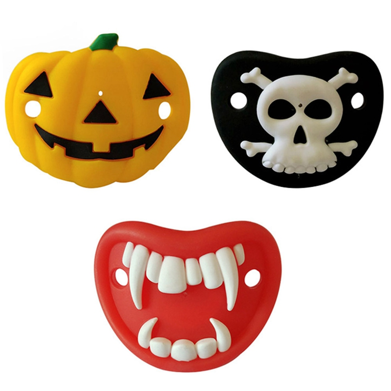 Food Grade Silicone Baby Pacifier Newborn Infant Dummy Pacifiers Skull Pumpkin Halloween Silicone Baby Nipple For Feeding