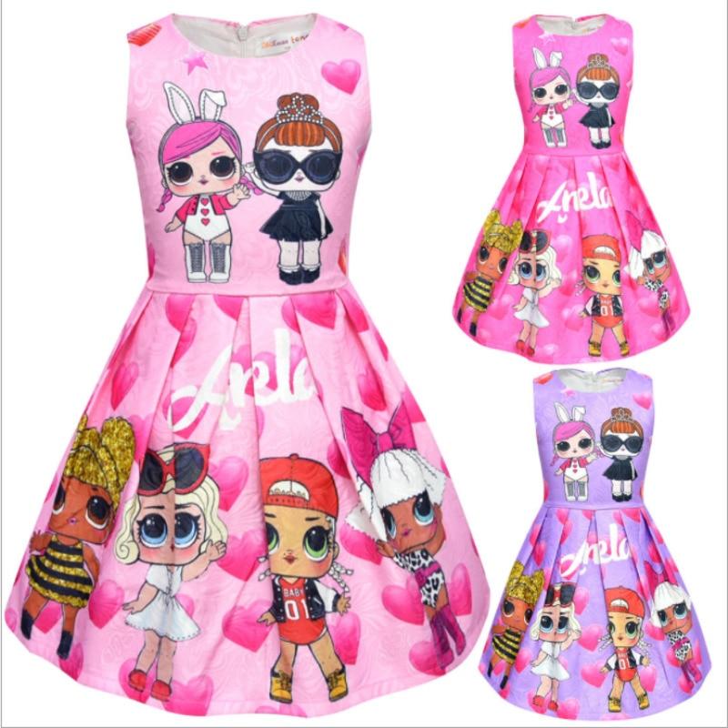 Baby Girls Dresses Cute Cartoon Lol Surprise Doll Heart Pattern