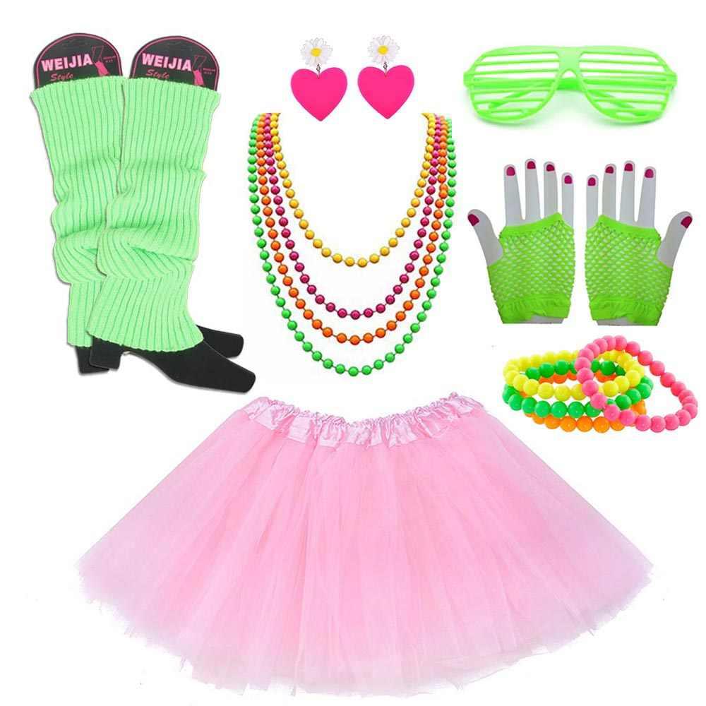 Details about  /Neon Necklace Beads Festival Clubbing 80s 90s Rave Disco Fancy Dress Costume
