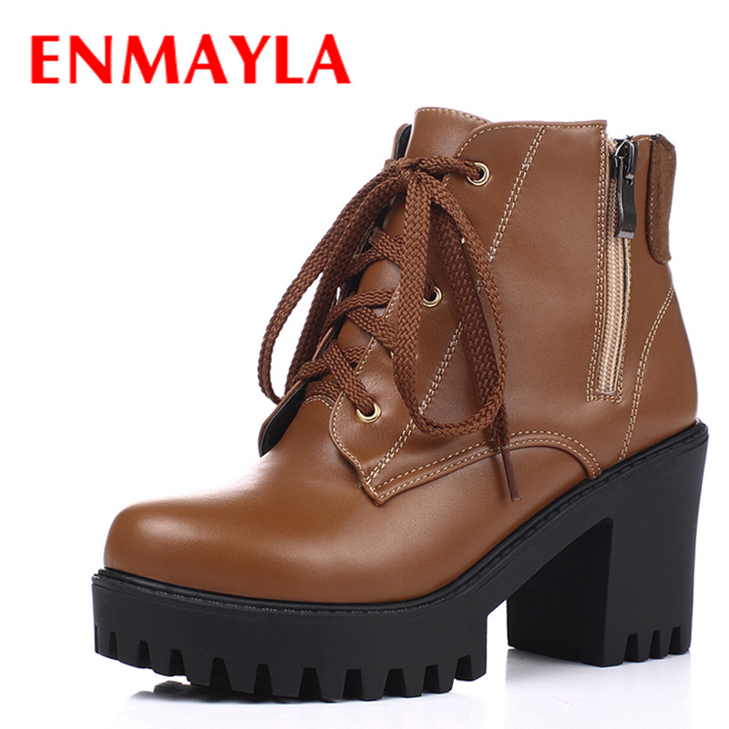 ENMAYLA New Lace-up Platform Shoes Woman High Heels Ankle Boots for Women Round Black Brown Knight Boots enmayla lace up mew ankle boots for women high heels wedges size 34 39 round toe autumn and winter boots platform shoes riding