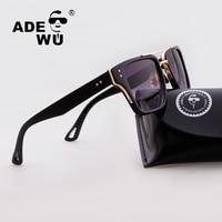 Adewu Sunglasses Mens Flat Top Style Brand Design Vintage Rivets Sunglasses Square Shield Gradient Women Male