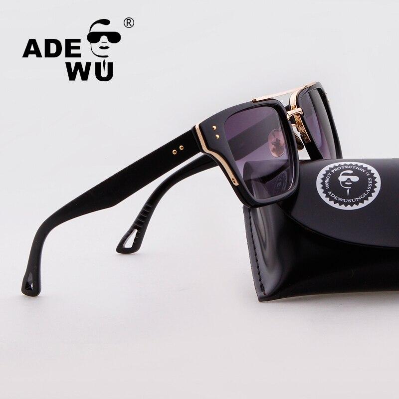 Adewu Sunglasses Mens Flat Top Style Brand Design Vintage Rivets Sunglasses Square Shield Gradient Women Male Sun Glasses Case ...