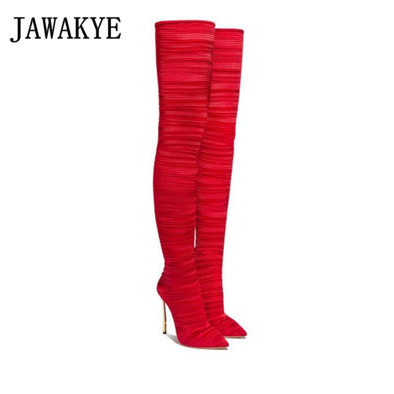 Chaussures Sur Talons Pour Bottes Dames Le Femmes Mince Bout Super Pointu Ranway black red Sexy Genou Apricot Élastique Cuisse Hauts Haute dtosrxQChB