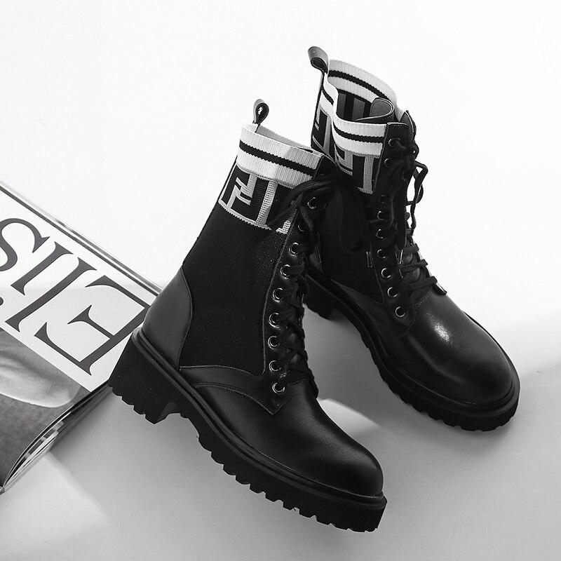 Zvq Invierno 5 black Zapatos Negro Botas Tacón Suede Calidad Altura Cow Redonda Cuadrado Alta Cuero Punta Black Leather De Genuino Cm Encaje Mujer Tobillo rr7aWFB