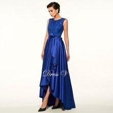Dressv mother of the bride dress jewel neck a line sleeveless asymmetry wedding party dress dark blue long evening party gown