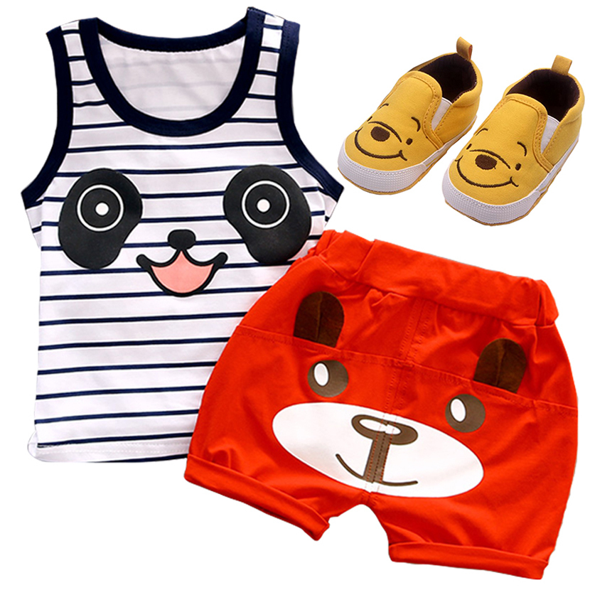 2018 Hot sale kids clothes cotton  boys clothing set o-neck character vest sleeveless shirts + short pants children clothes set on sale boys clothing set kids sport cartoon cotton clothes suit boys clothes sweater pants 2pcs clothing set kids set