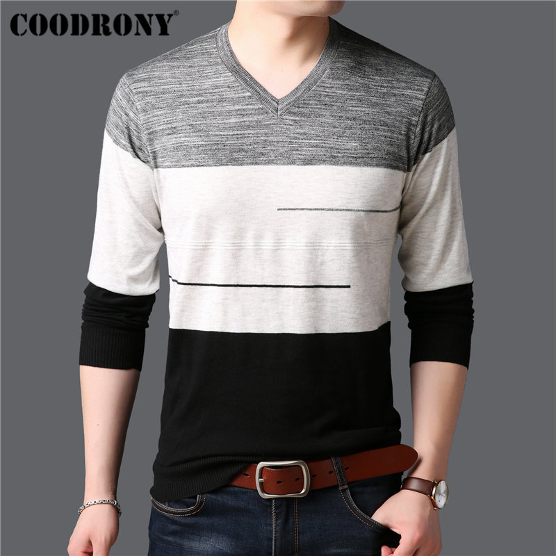 COODRONY Sweater Men Knitwear Pull Cashmere V-Neck Homme Striped Casual Cotton 91005