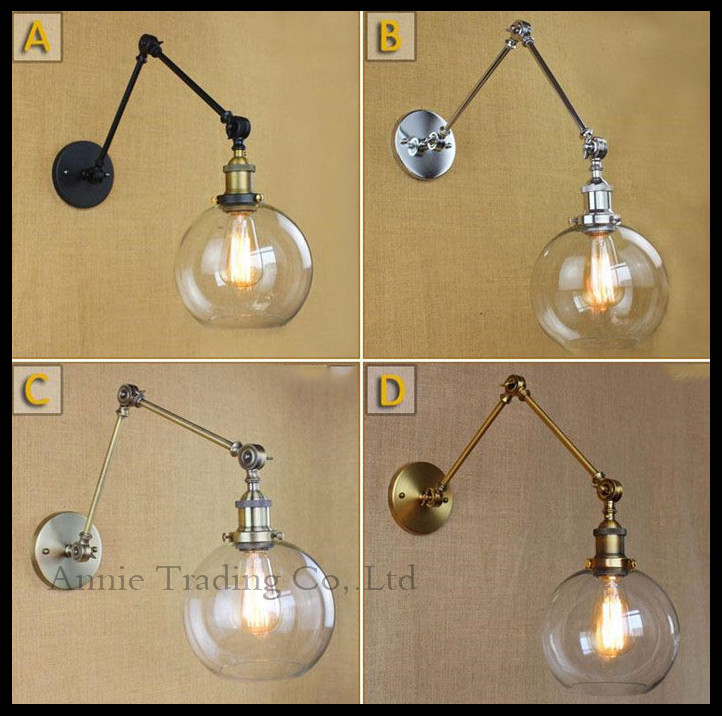 Art Decor nordic lamp swing arms wall lights Clear Globe Ball glass shade Black chrome gold bronze modern Retro sconce - Annie Trading Co. Ltd store