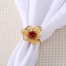 6PCS Western-style metal flower napkin ring Hotel set table Wedding wedding buckle