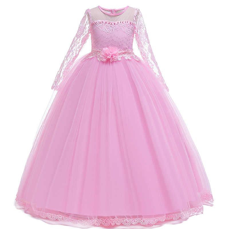 Пышное длинное вечернее платье принцессы для девочек; платья для первого причастия; элегантное белое платье с цветочным узором для девочек; Пышное Платье для девочек; Vestido Comunion