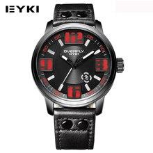 EYKI Relojes de Cuarzo Correa de Cuero Luminoso de La Vendimia Para Los Hombres Deportes Diseñador Masculino Impermeable Reloj Fecha Display Reloj Hombre