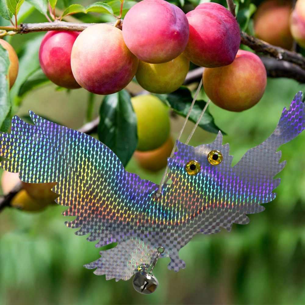 ガーデンレーザー反射偽フクロウ用品ぶら下げ反射フクロウをおびえさせるかかし鳥ハトキツツキよけ鳥