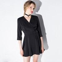 111 European Style Women Dress Elegant Deep V Cross Vestido Robe Femme Elastic Waist Jurken Vestidos