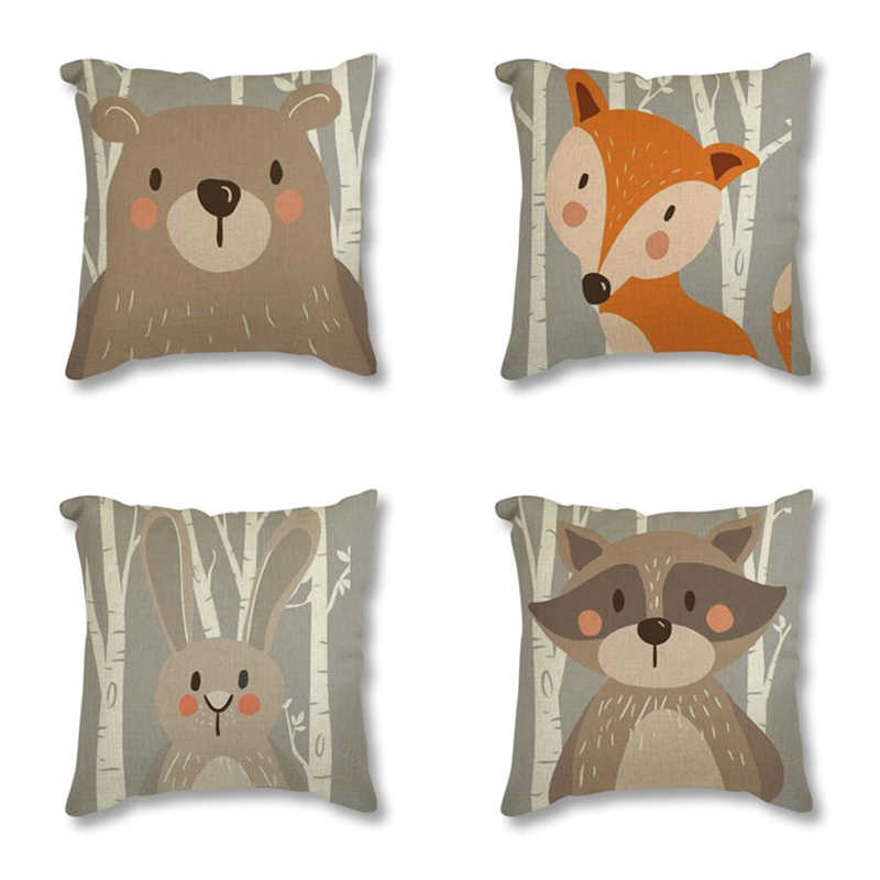 Tribo Floresta Animal Urso Fox Imprimir Linen Capa de Almofada Decorativa Fronha Para Cadeira Do Sofá Home Decor Almofadas 45x45 cm