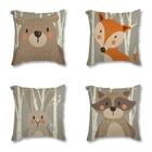 Tribe Woodland Animal Bear Fox Print Linen Cushion Cover Decorative Pillow Case For Chair Sofa Home Decor Throw Pillows 45x45cm