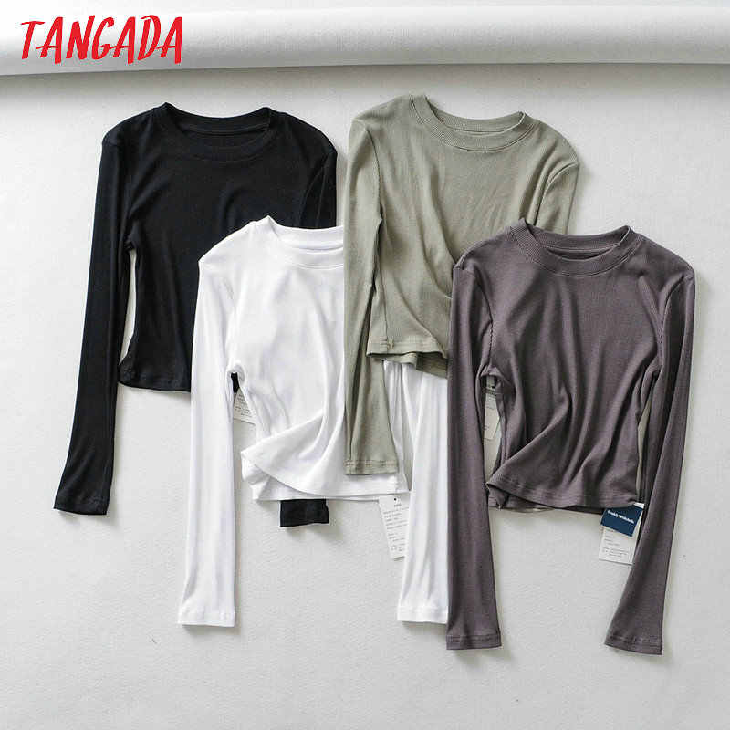 Tangada women short T shirt long sleeve american style 2019 stretch basic tees shirt ladies casual cropped tops 2B17