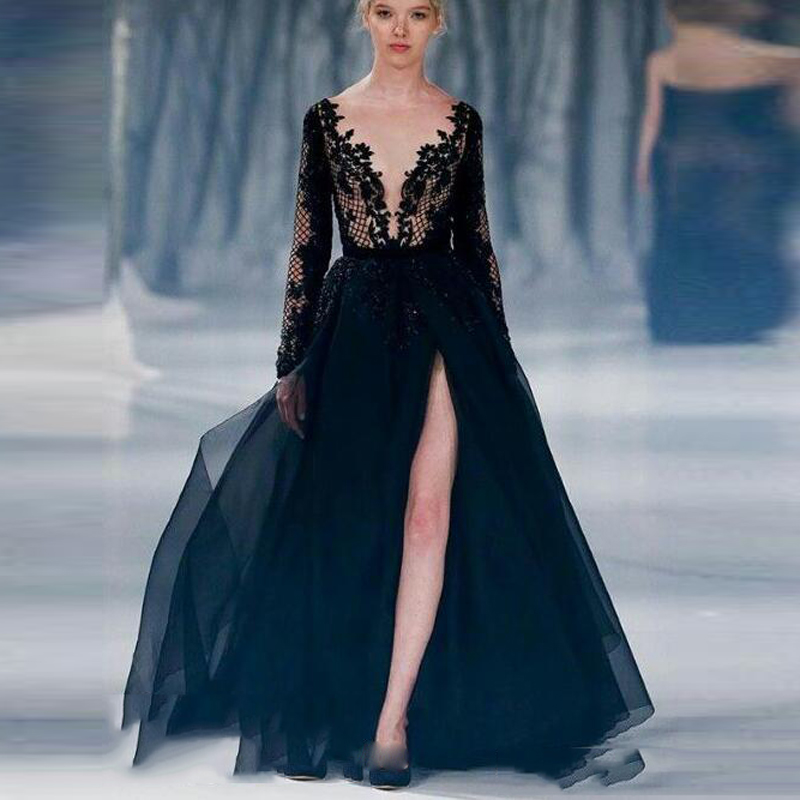 703585333c49 Sexy Deep V Neck Lace Evening Dresses Black High Spite Long Sleeve A Line Evening  Gowns