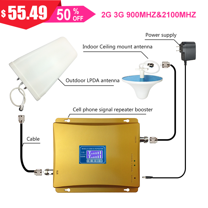 2g Gsm 900mhz Dual Band Cellular Booster Mobile Phone Signal Repeater 3g Network Band1 2100mhz Wcdma LDPA+ceiling Antenna Kit -