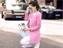 women jacket jacket women Spring thin section Women Korean fashion casual Slim long coat was thin round neck small suit