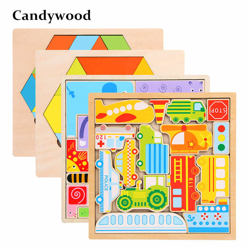 Children Toys Funny Cartoon Puzzles Traffic Animal Jigsaw Puzzle Kids Early Learning Educational Toys for Children Developing