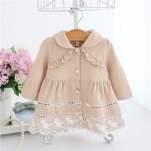 Плащ для девочек; весна г.; кружевные детские куртки; одежда для маленьких девочек; модная куртка для малышей; Верхняя одежда; 3 цвета; От 0 до 2 лет