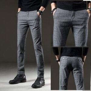 Image 3 - jantour Brand Pants Men Casual Elastic Long Trousers Male Cotton plaid gray Work Pant mens autumn Winter big size 28 38