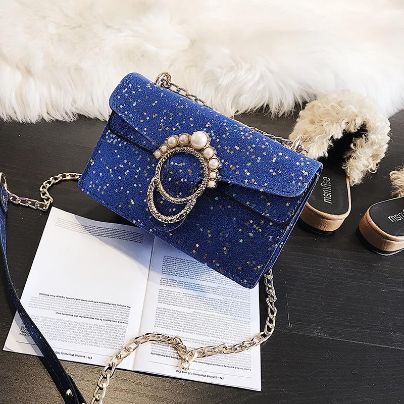 2018 new Korean handbag fashion pearl wide shoulder strap handbag diagonal shoulder bag