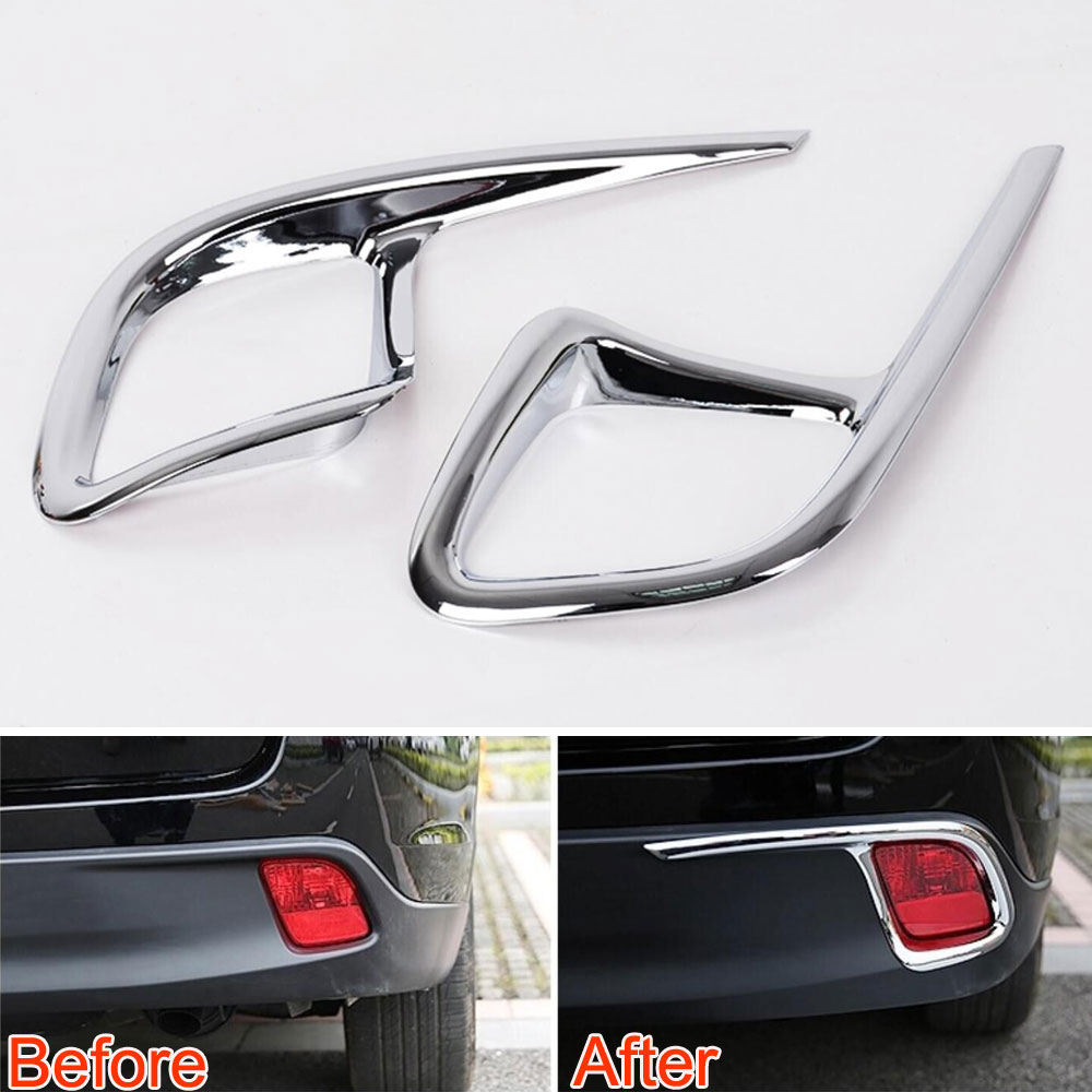 For Toyota Highlander 2015 2Pcs ABS Car Exterior Rear Foglight Fog Lights Lamp Cover Moulding Trim Decoration Car Styling
