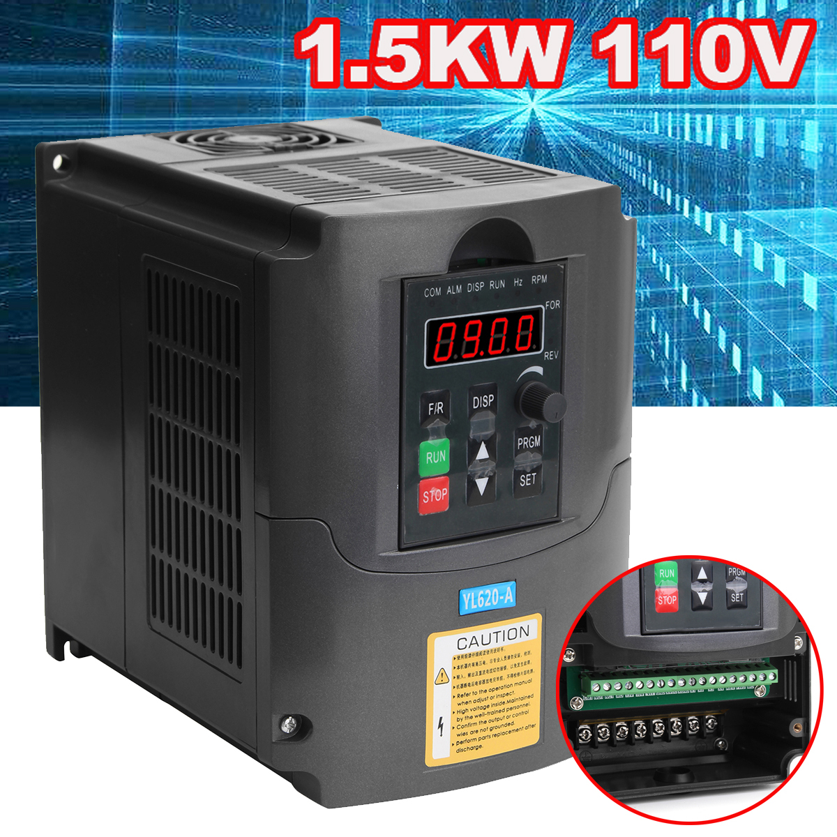 New 110V 1.5kw AC Variable Frequency Inverter Converter 3 Phase Output Built-in PLC Single Phase Space Voltage Vector Modulation new original sgdm 15ada 200v servopack single 3 phase
