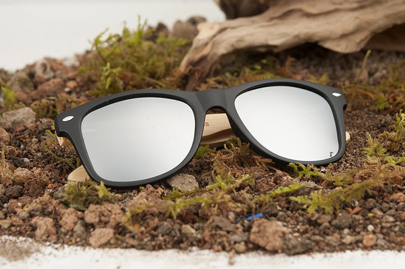 BOBO BIRD Black Square Sunglasses With Bamboo Mirrored 11