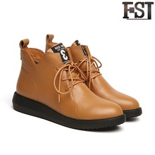 FSJ Women Shoes Martin Boots Genuine Leather Cow Leather Ladies Winter Short Plush Slip-On Winter Flat with Med Heel Platform