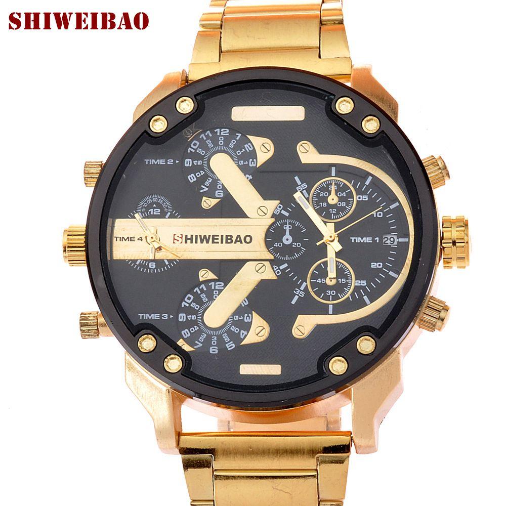 SHIWEIBAO Luxury Watch Men Waterproof Dual Time Display Quartz Wrist Watch with Stainless Steel Band Quartz Wristwatches