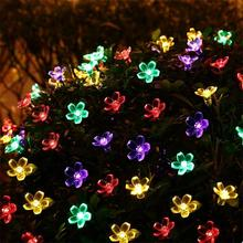 solar string lights 50led flower waterproof string fairy christmas tree light party wedding new year decoration garland - Flower Christmas Lights