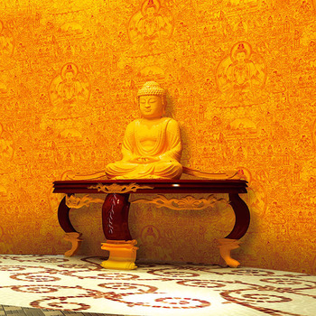 Golden Reflective Buddha Image Wallpaper Buddha Temple Background Wall Painting Entrance Screen Living Room TV Wall Decoration