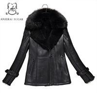 Winter Sheep genuine leather fur jacket Women black sexy slim Fox feather collar short feminino natural mouton lamb fur coats