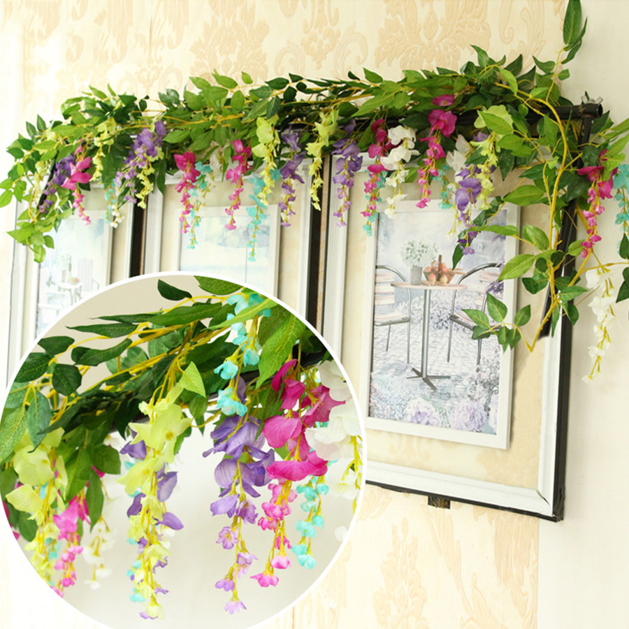 Artificial & Dried Flowers Artificial Decorations 95cm Long Artificial Silk Rose Flower Vine Fake Garden Hanging Flower Plant Rattan Home Decor Garland Wedding Decoration Elegant Shape
