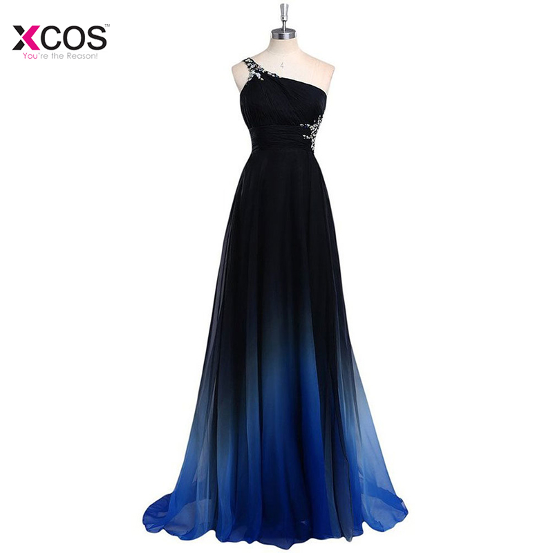 Latest Ombre   Prom     Dress   One Shoulder Gradient Evening   Dresses   Beads 2018 Formal   Dress   Backless Vestidos De Baile