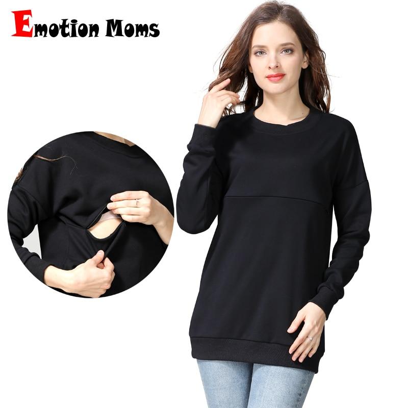 Emotion Moms winter Maternity Sweater Nursing Tops Long Sleeve Hoodies Breastfeeding Tops For Pregnant Women Maternity T-Shirt все цены