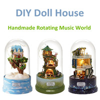 DIY Rotating Music Box Dolls House Luminous Dollhouse Musical Case Cloche Handmade Miniature Kits Kids Toy Christmas Gifts
