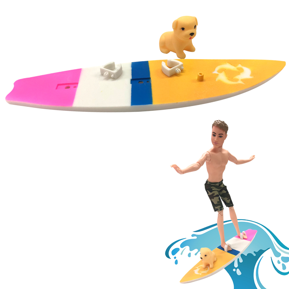 NK One Set Doll Plastic Surfboard +Dog For Barbie Boyfriend Ken Doll Extreme Sport Toys BEST Gift Doll House Accessories DZ