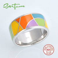Silver Rings For Women Lord Of The Ring Colorful Enamel Ring Pure 925 Sterling Silver Female
