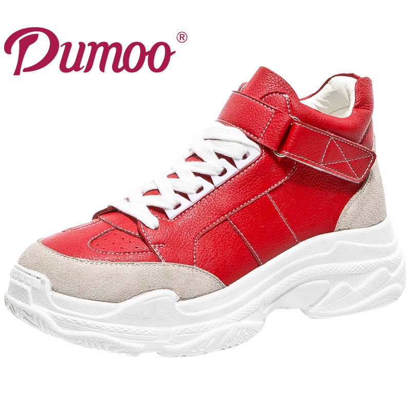 Dumoo 2018 Fashion Women Sneaker Leisure Shoes Platform Lady Casual Shoes Genuine Leather Heel 5.5cm Wedges Shoes