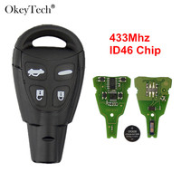 Okeytech 4 Buttons Car Remote Key For SAAB 93 95 9 3 9 5 WF Auto Key Control With Insert Blade 433Mhz ID46 PCF7946 Chip