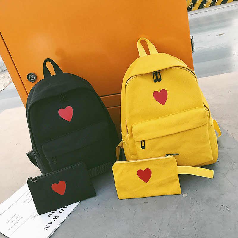 c4a7846352d3 2 Pcs/Set Hot Sale Women Love Heart Printed Canvas Backpack Lady Travel Bag  Girls Students Pencil Case School Shoulder Bags