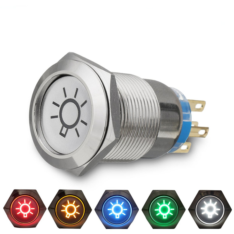 1pc 19mm 12V LED Dome Light Push Button Switch Fog Light On/Off Car Lorry Boat Momentary Latching Switch 5 Colors 1pc 12v waterproof push button on off switch with 4 leads motorcycle car boat on sale g08 drop ship
