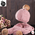 Hot Sale Top Quality Winter Warm Knitted Scarf And Hat Set for Women Thicken  Angola long rabbit hair ball Hat Scarf